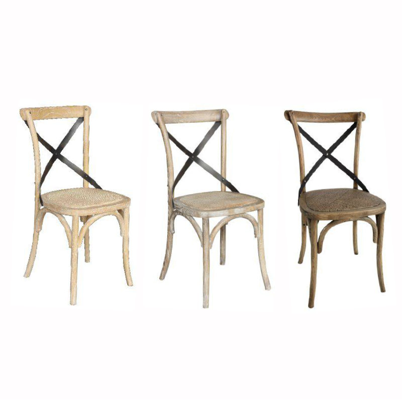 Cross Back Metal Dining Chair