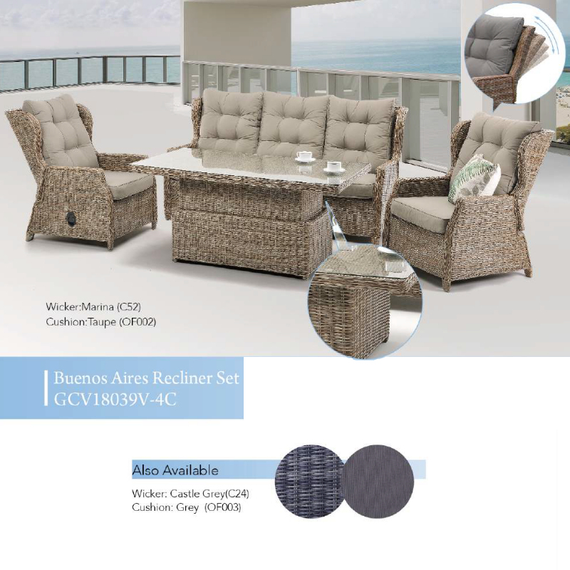 Buenos Aires 4pce Patio Recliner Set