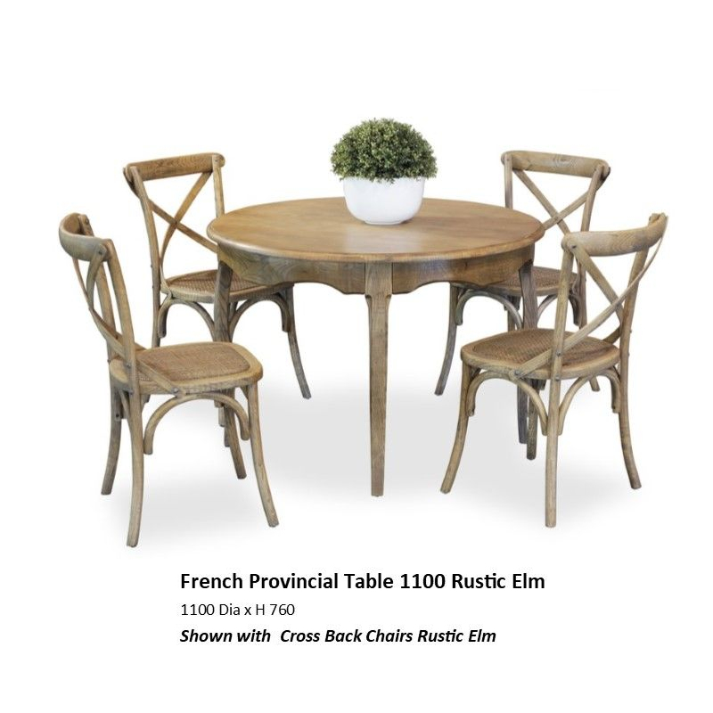French Provincial 5pce Dining 1100mm Rustic Elm