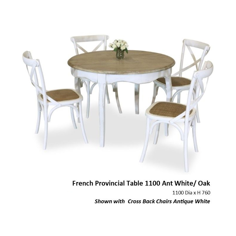French Provincial 5pce Dining 1100mm Antique White